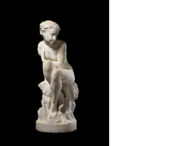 A marble lady lying on a naturalistic base - signed
