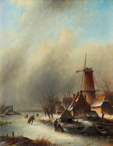 Jan Jacob Coenraad Spohler (Dutch, 1837-1923) Winter skating scene