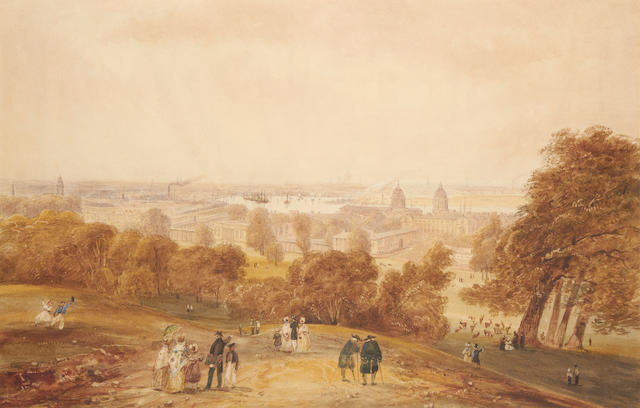 Attributed to James Pattison Cockburn (British, 1779-1847) View of London from One Tree Hill, Greenwich Park