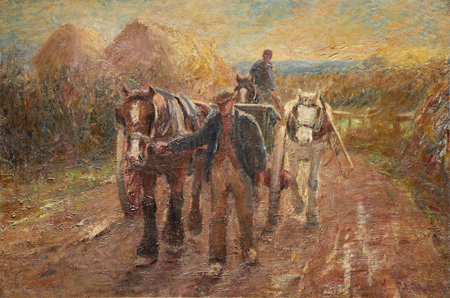 Harry Fidler (British, 1856-1935) Leading the haycarts