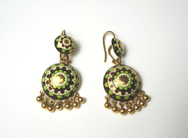 A pair of Indian high carat gold and enamel domed earrings with ball fringes 22ct?