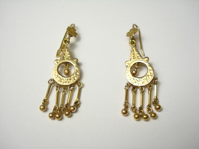 A pair of Indian high carat gold earrings with pillar and ball fringe drops