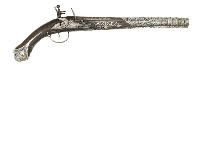 A Turkish 18-Bore Silver-Mounted Flintlock Holster Pistol