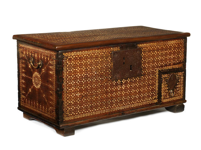A small Spanish Mother of Pearl inlay coffer