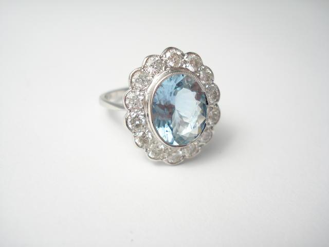 An aquamarine and diamond cluster ring