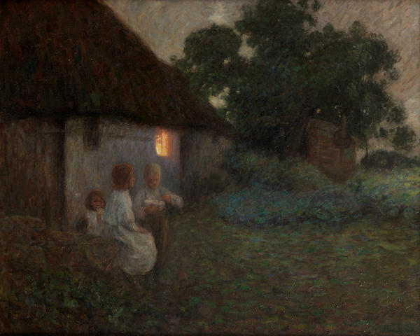 Edward Stott, ARA (British, 1859-1918) The labourer's cottage - suppertime
