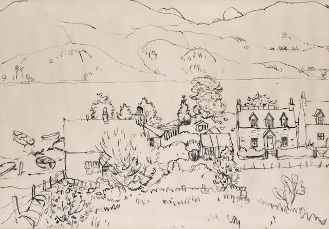 Sir William George Gillies CBE LLD RSA PPRSW RA (British, 1898-1973) Houses on a loch 25 x 36 cm. (9 7/7 x 14 1/8 in.)