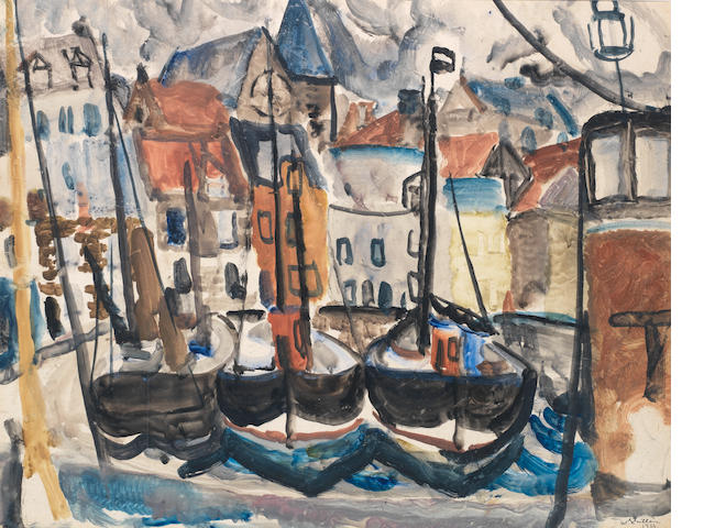 Sir William George Gillies CBE LLD RSA PPRSW RA (British, 1898-1973) Harbour 49 x 62 cm. (19 1/4 x 24 3/8 in.)