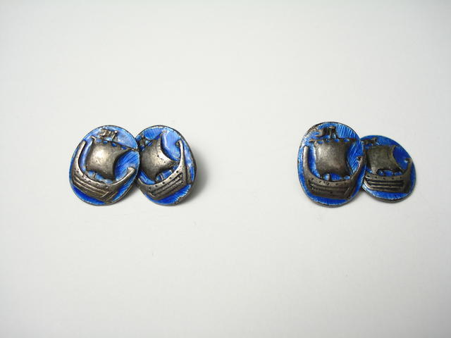 A pair of enamel cufflinks by Alexander Ritchie