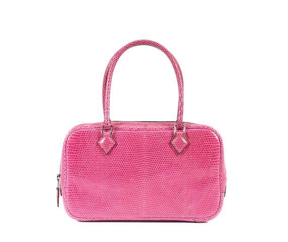 An Hermes bright pink lizard-skin bag (with receipt)