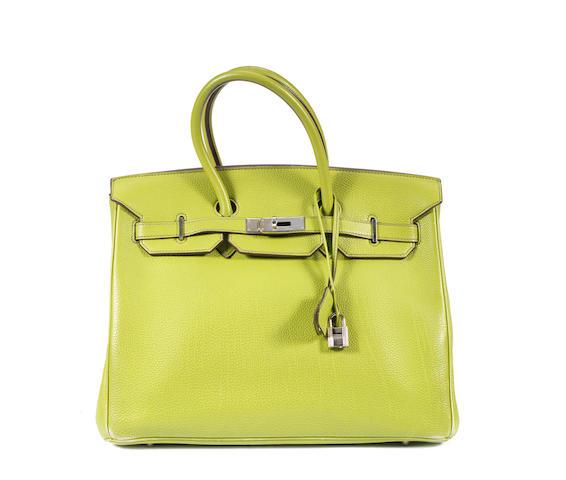An Hermès lime green togo leather Birkin bag, 2003