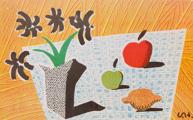 David Hockney R.A. (British, born 1937) Two Apples, one lemon and four flowers Offset lithograph, 1997, printed in colours, on thin wove, published in the Independent, 367 x 580mm (14 3/8 x 22 7/8in)(SH)  unframed