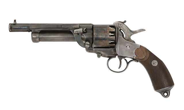 A Rare LeMat And Girard's Patent Dual System Second Model 9-Shot Percussion 'Grape-Shot' Revolver