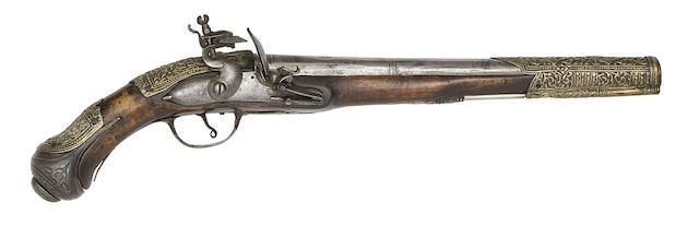 A Pair Of Turkish 20-Bore Flintlock Holster Pistols