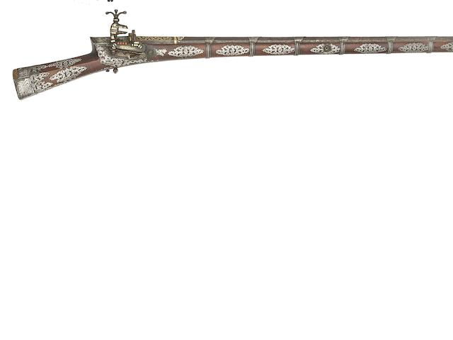 A Turkish 18-Bore Silver-Mounted Miquelet-lock Gun