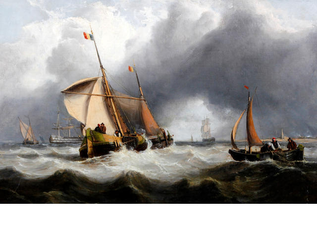 Circle of Clarkson Stanfield RA (British, 1793-1867) Dutch fishing vessels in choppy waters with a stormy sky