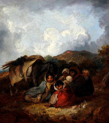Attributed to Thomas Barker of Bath (Pontypool 1769-1847 Bath) Gipsy encampment with donkey on a hillside