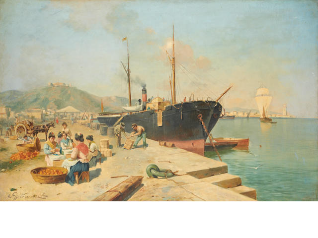 J.G. Delincourt (French, late 19th/early 20th Century) Unloading the oranges