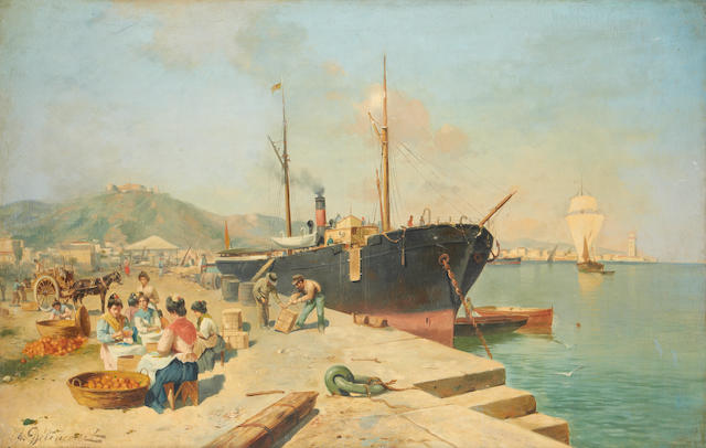 J.G. Delincourt (French, late 19th/early 20th Century) Unloading the oranges in a Spanish port