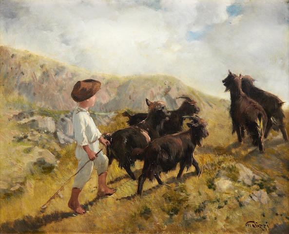Filippo Palizzi (Italian, 1818-1899) The young herder