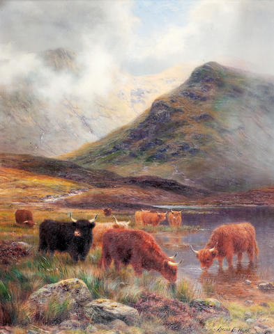 Louis Bosworth Hurt (British, 1856-1929) Highland Cattle watering