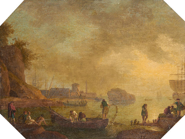 Manner of Claude Joseph Vernet, 19th Century Pulling up nets in a bay