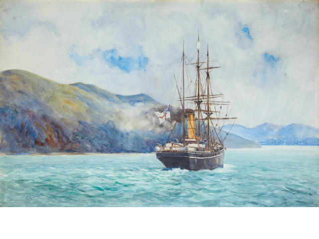 TERRA NOVA DUNN (C.A.) A view of the Terra Nova returning to Lyttelton with flag at half mast, [c.1912 or later]