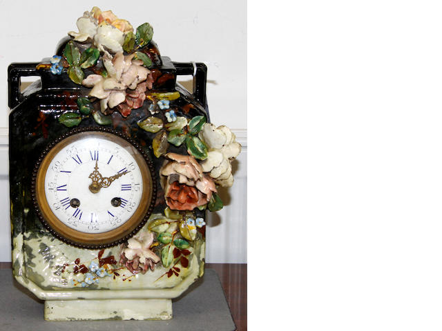 A Continental Majolica style clock late 19th Century
