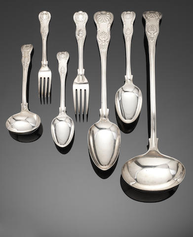A collected silver King's pattern table service of flatware various dates and maker's