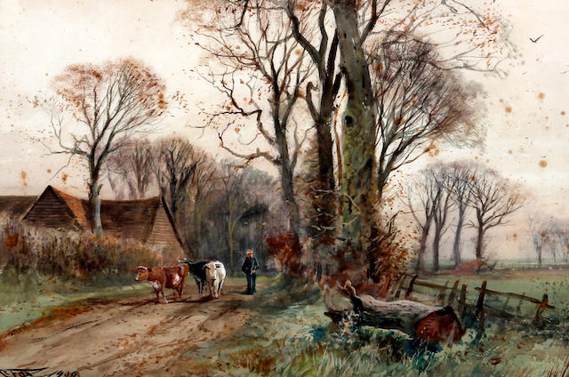 Henry Charles Fox (British, 1860-1925) Cattle and farmer on a wooded lane