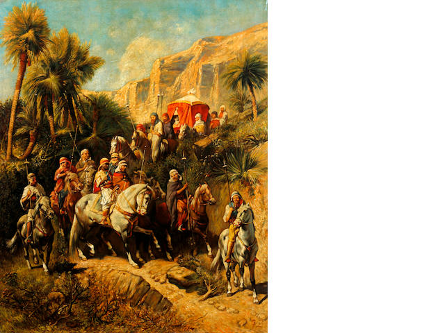 Continental School, (circa 1890) An arab procession through an oasis