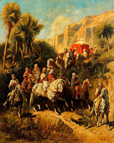 Continental School, (circa 1890) An arab procession through an oasis