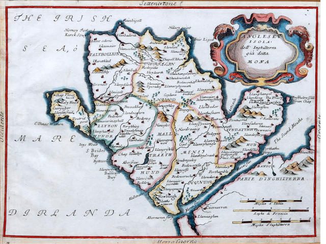 Vincenzo Maria Coronelli (Italian, 1650-1718) ANGLESEY Anglesey Isola dell Inghilterra gia detta Mona, engraved map, hand coloured, also Saxton/Hole, Anglesey, and Saxton/Hole, Carnarvonshire, together with Mercator, North West section of England and Wales, (4)