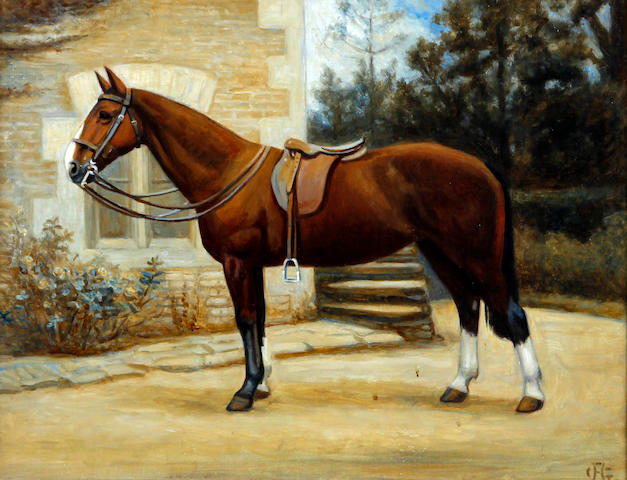 British School, (early 20th century) Horse in the grounds of a house