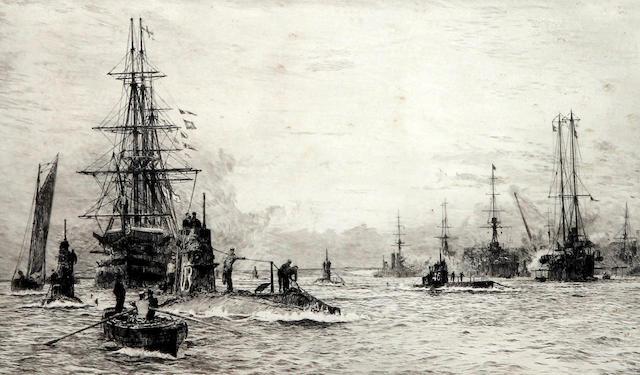 William Lionel Wyllie (British, 1851-1931) 'Submarines in Portsmouth Harbour'