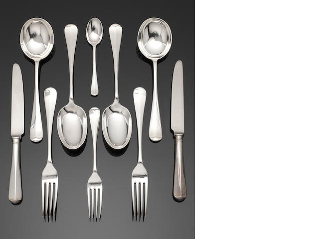 A silver Hanoverian pattern table service of flatware predominately by Atkin Bros, Sheffield 1920  (56)