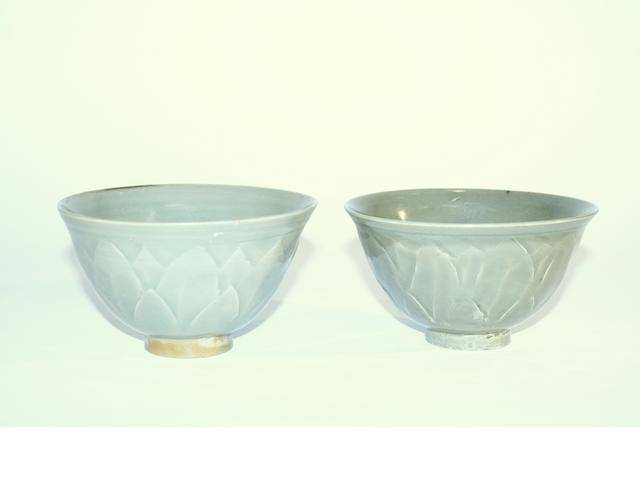 Two lotus pattern Celadon bowls