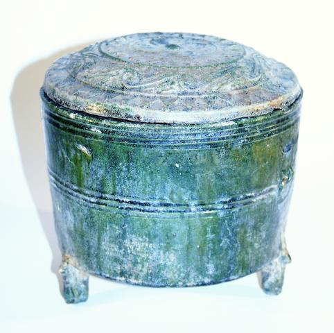 A Chinese covered tripod jar Han Dynasty