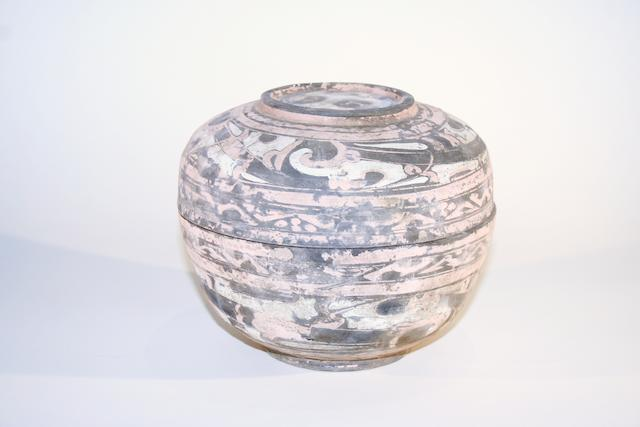 A Chinese earthenware circular box and cover Han Dynasty