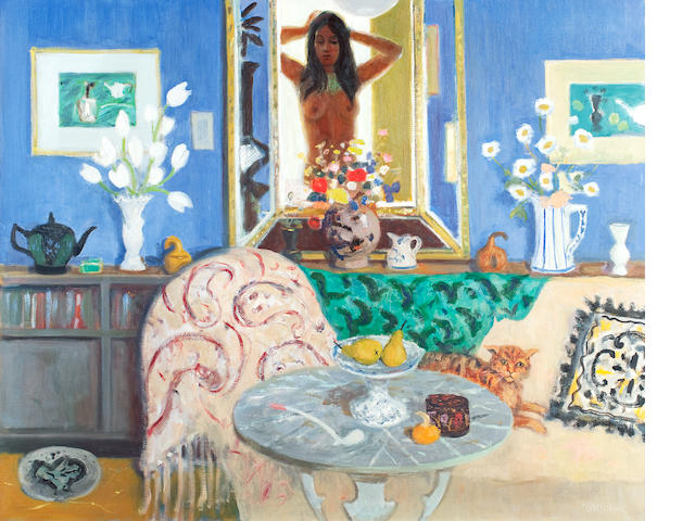 David McClure RSA RSW RGI (British, 1926-1998) Girl putting up her hair 101.6 x 127 cm. (40 x 50 in.)