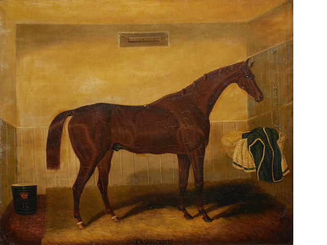 Samuel Spode (British, fl.1825-1858) Chestnut hunter in a stable