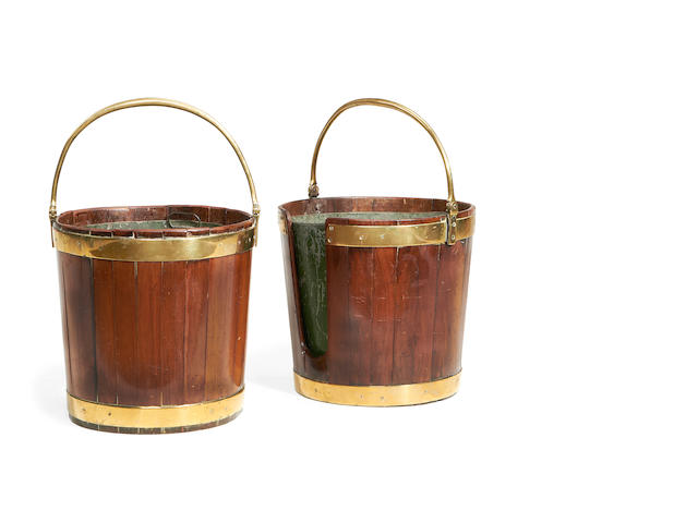 Two George III mahogany and brass bound buckets