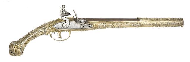 A Balkan 20-Bore Flintlock Holster Pistol With Silver-Gilt Stock
