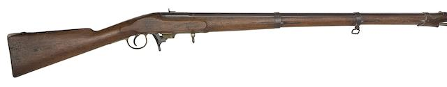 A Very Rare Belgian 17MM Heurteloup Patent Self-Priming Under-Hammer Percussion Military Rifle (Koptipteur)