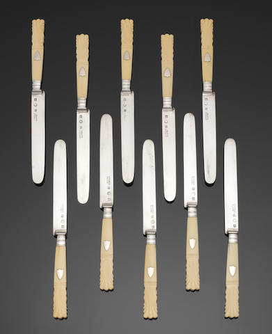 A cased set of twenty-four Belgium silver and ivory handle dessert / fruit knives town letter for Namur, with second standard mark for the period 1831 - 1868, blades incuse marked ARNOULD NAMUR  (2)