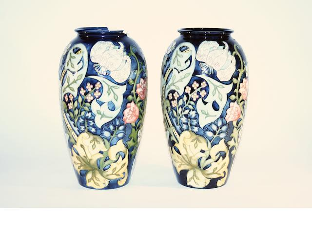 A pair of Moorcroft William Morris 'Golden Lily' design vases