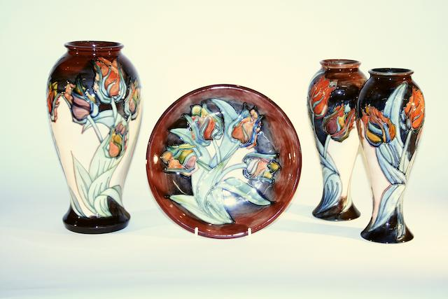 A collection of Moorcroft 'Red Tulip' pattern items Dated 1991