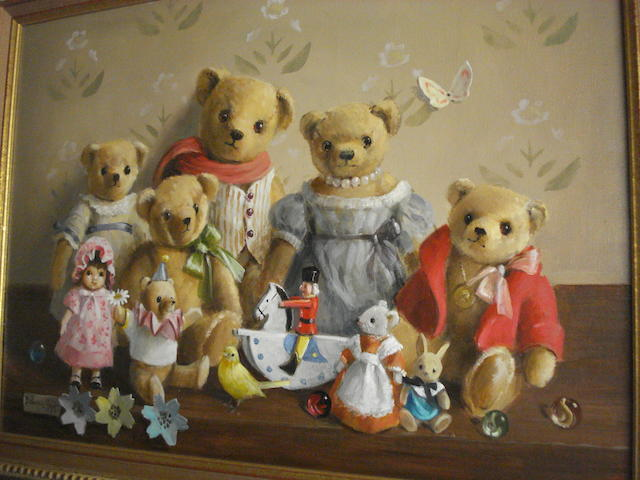 Deborah Jones (British, 1921) Family Group of Teddy Bears,