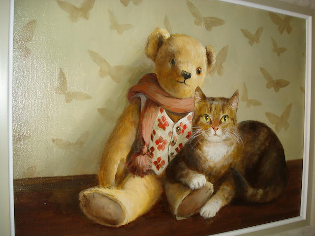 Deborah Jones (British, 1921) Teddy Bear with a Cat,