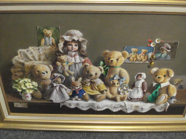 Deborah Jones (British, 1921) Family Group of Teddy Bears with Dolls,